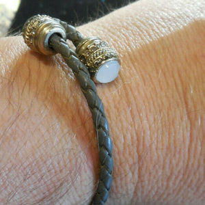 Gray Leather Weaved Wire White Faceted Bracelet